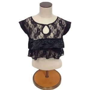 NEW LF Stores Millau Crop Top Lace Blouse Keyhole